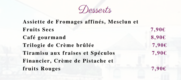 carte menu desserts